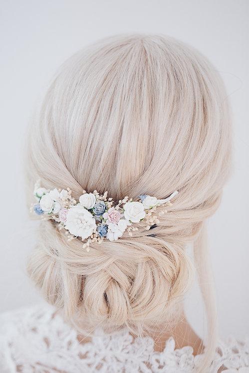Blumenkranz Braut Hochzeit Haarkranz Blumen Haarschmuck Brautjungfern Oktoberfest Kranz Kopfschmuck Haarband Ranke blau