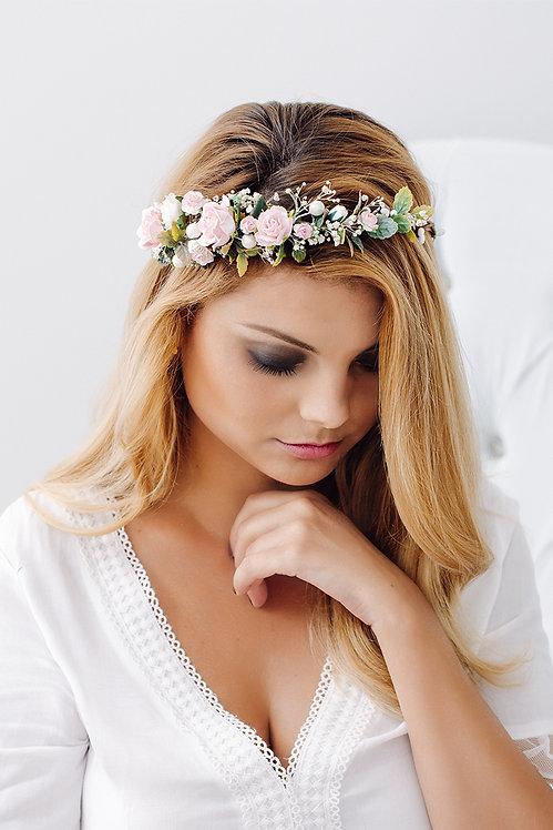 Blumenkranz Braut Hochzeit Haarkranz Blumen Haarschmuck Brautjungfern Oktoberfest Kranz Kopfschmuck HaarbandEukalyptus rosa