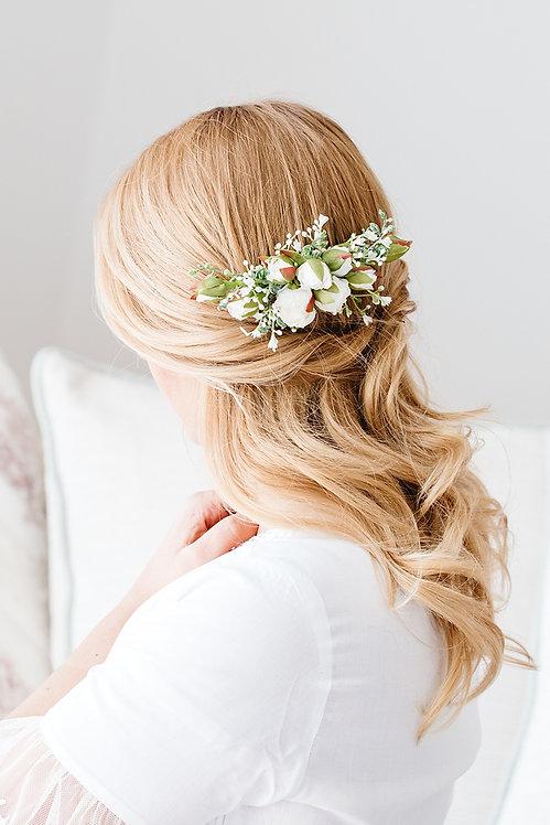 Braut Haarschmuck Haarkamm Hochzeit Haarkranz Blumen Blumenkranz Brautjungfern Oktoberfest Kranz Kopfschmuck Sommerfest weiß