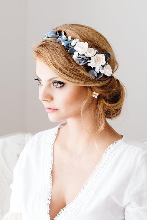 Blumenkranz Braut Hochzeit Haarkranz Blumen Haarschmuck Brautjungfern Oktoberfest Kranz Kopfschmuck Haarband eucalyptus