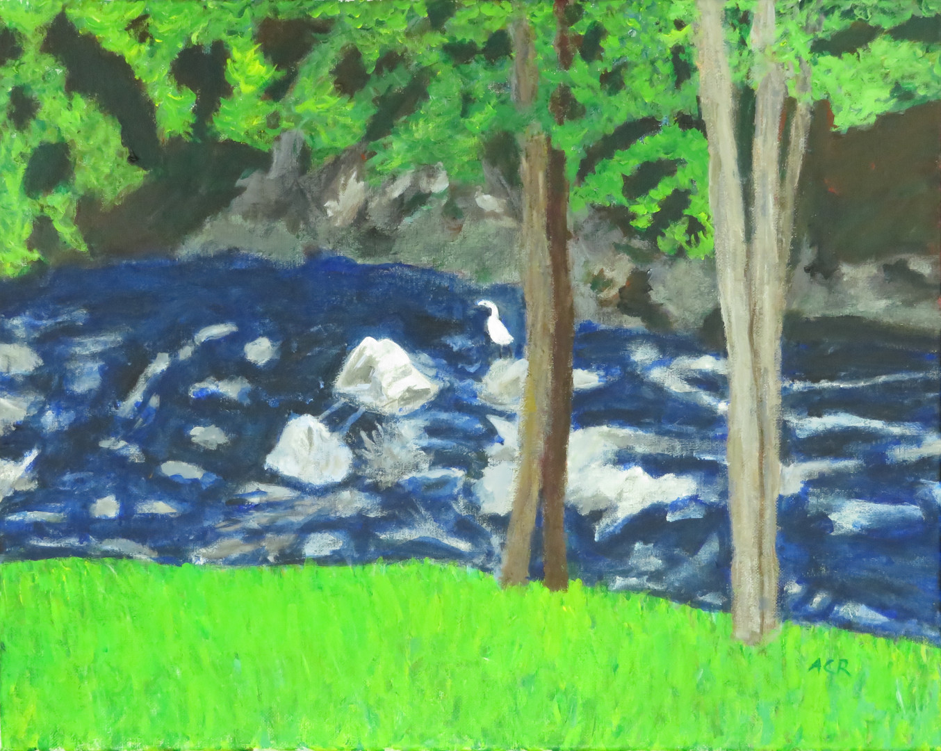 Rosebrooks River in Scotland Acrylic on