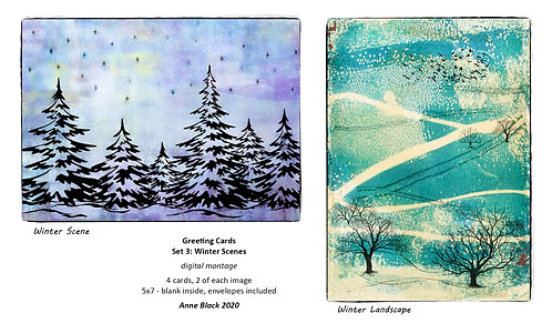 Greeting Card Set 3: Winter Scenes, by Anne Black