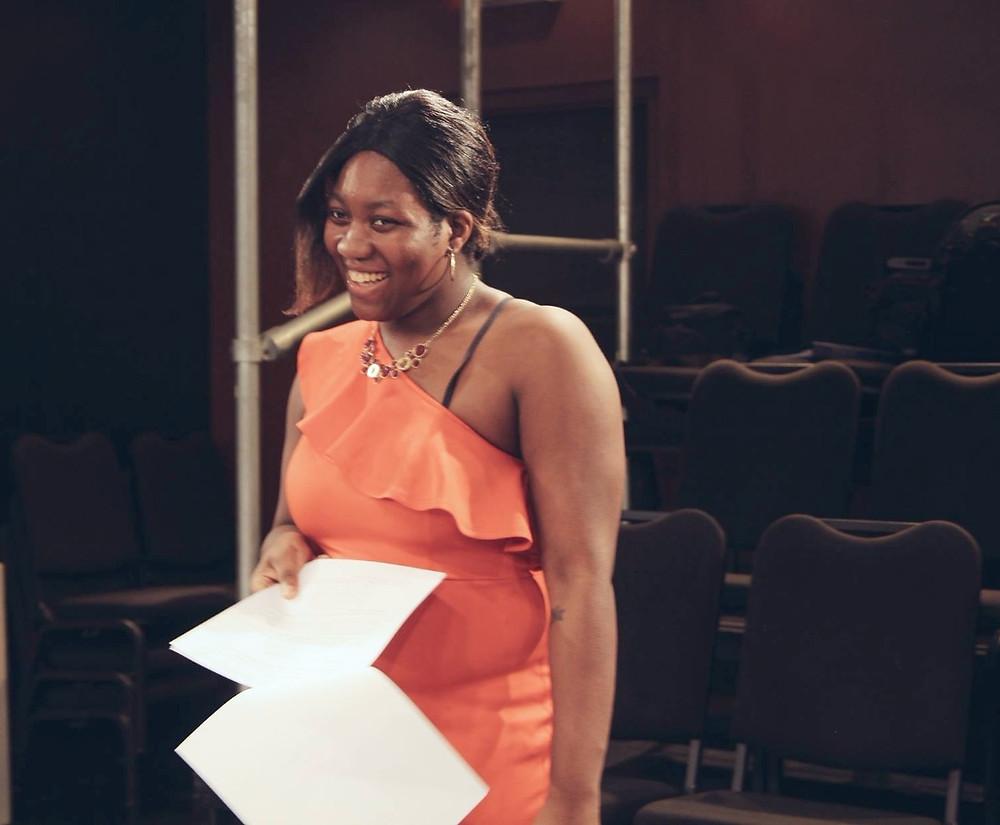 Viktoria writer director holding script