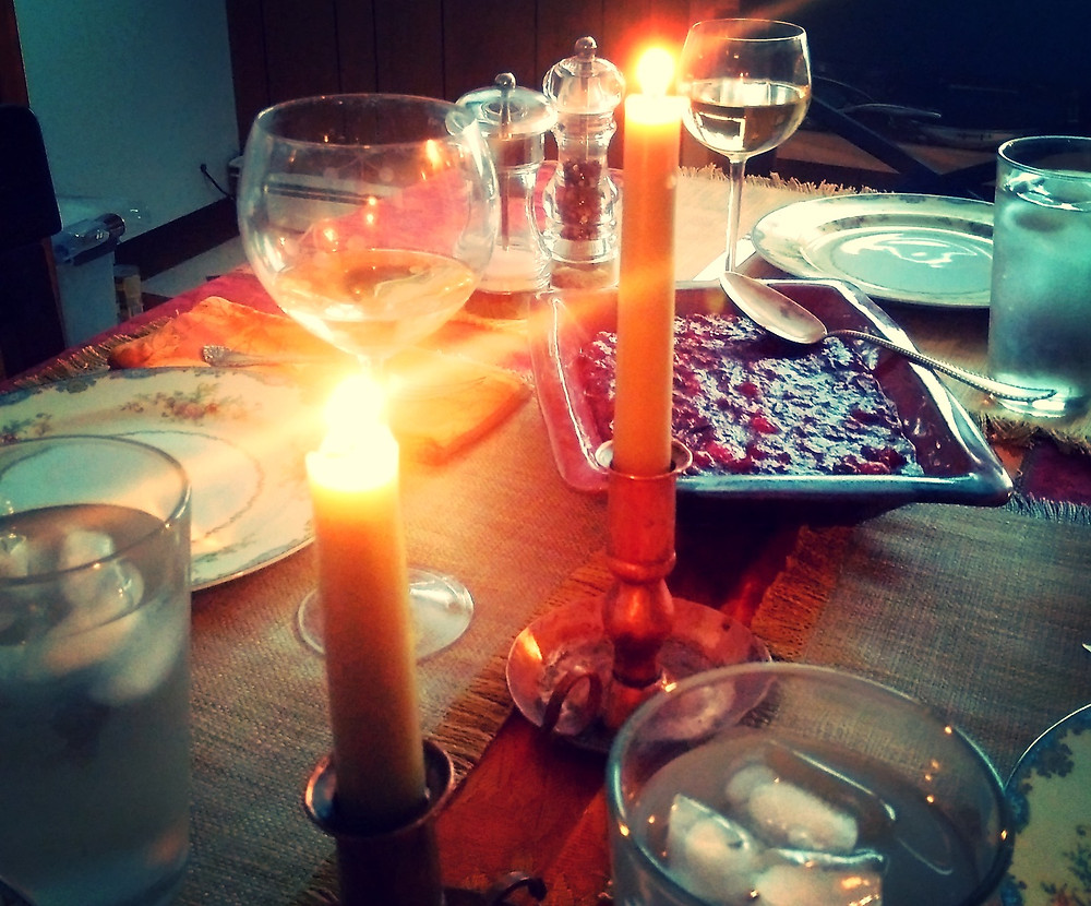 Holiday wine and candles