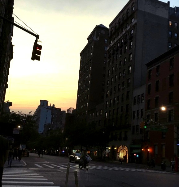 Intersection on Upper West Side of Manhattan during Sunset