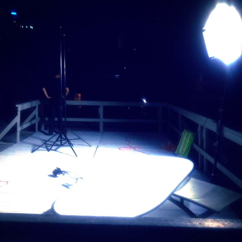 late night shoot, lights and camera set up