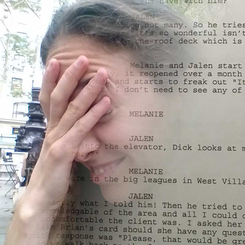 Woman head in her hands fade into script