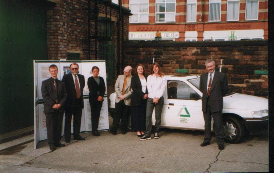 Me (far left) with the EBS team at Groundwork with our then pioneering dual fuel Ford Escort, taken approximately 1999