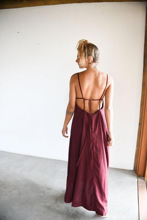Vestido Linho Vinho