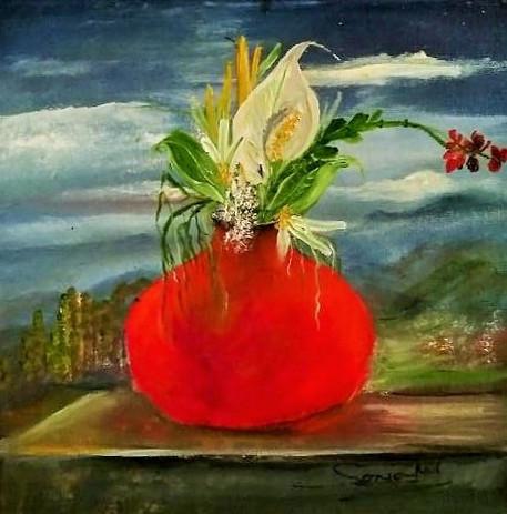Red Bulb Vase