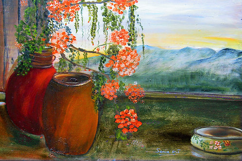 paper prints, sunrise, trees, hills, landscape art, still life art, sunset, pink flowers, trees, sky,