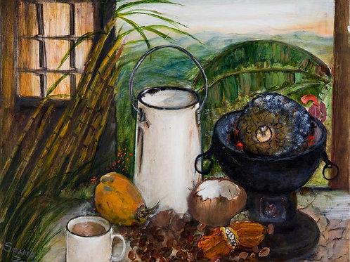 fruits, Caribbean art, sunrise, sunset, banana, white enamel,  sugar cane, breadfruit, cocoa pod, paper prints, unusual art,