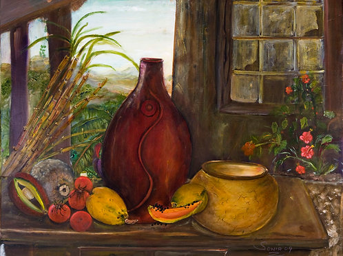 still life art, fruits, sugar cane, Caribbean art, hills, canvas prints, pawpaw, vegetables,