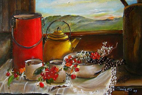 coffee, beans, hills, red, yellow, cloth, canvas prints, still life art, landscape art, enamel, jugs,