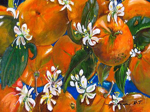 oranges, fruits, white flowers, blue, canvas print, bright art,