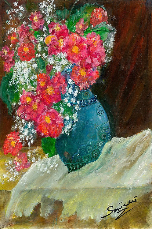 Still life art, Flowers, red flowers, pink flowers, prints ,unusual gifts, blue,