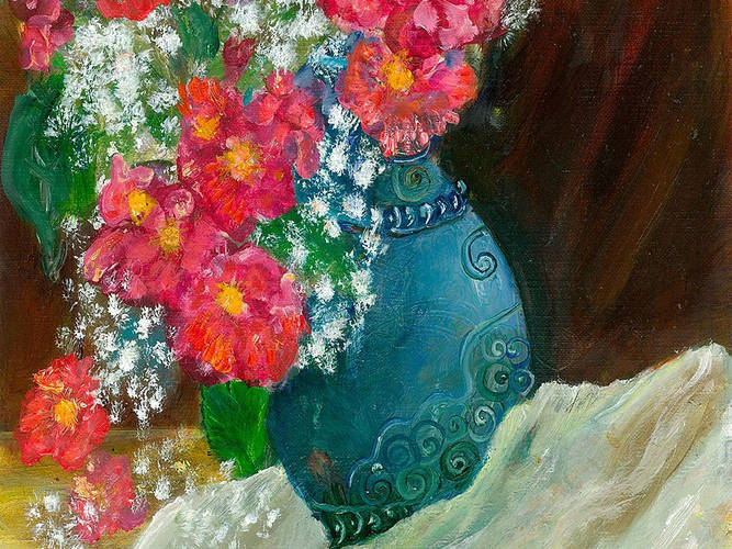 Pink Flowers in Antique Vase