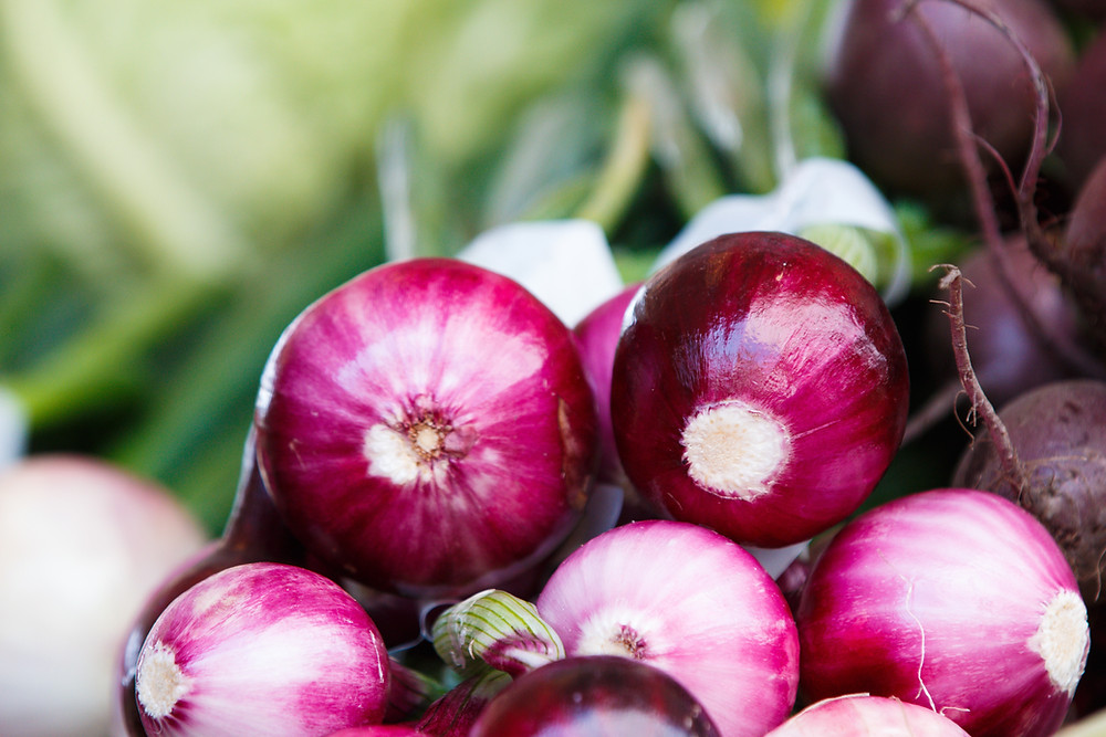 Fresh red onions - prebiotic fibre for butyrate-producing bacteria