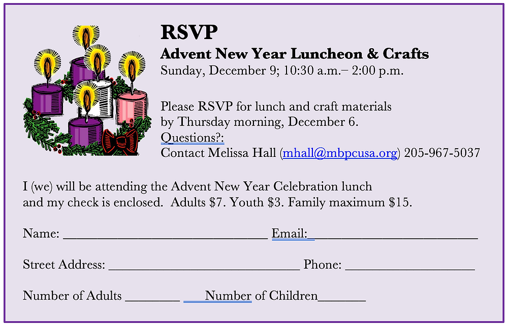 MBPC Advent New Year Luncheon & Crafts