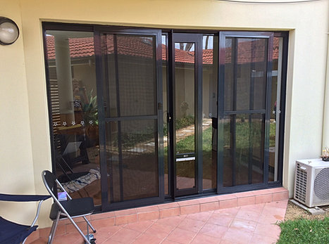 Installation of pet door insert for sliding door for Double sliding screen door