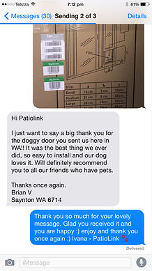 Happy customer testimonial patiolink pet doors