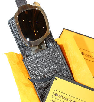 Buffalo Horn Sunglasses in a Yak Leather Case