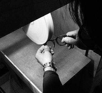 polishing handmade natural horn frames