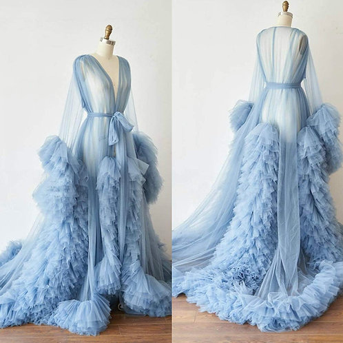 Extra Boujee Tulle Goddess Robe (Baby Blue)