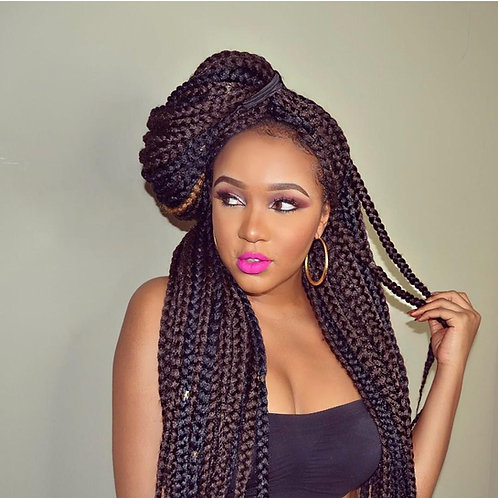 Bundle Deal 8 Packs Handmade Crochet Box Braids (Natural Black)