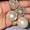 Thumbnail: Gold Flower Pearl Earrings