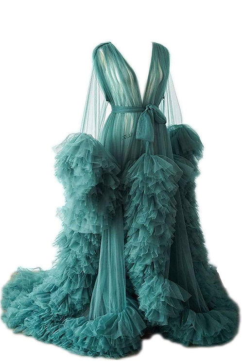 Extra Boujee Tulle Goddess Robe (Green)