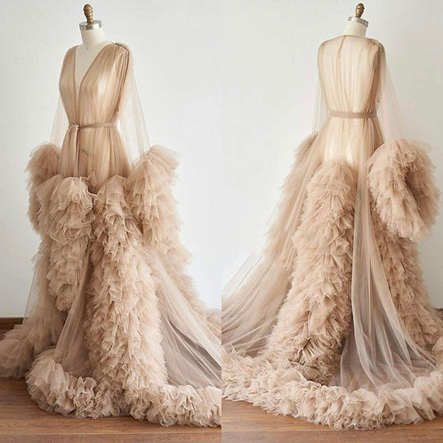 Extra Boujee Tulle Goddess Robe (Champagne)