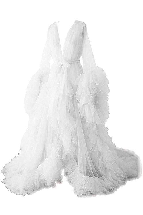 Extra Boujee Tulle Goddess Robe (White)