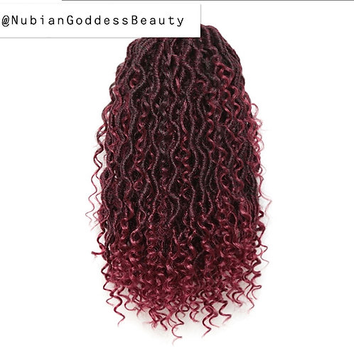 Nubian Goddess Mermaid CROCHET Locs (Burgundy)