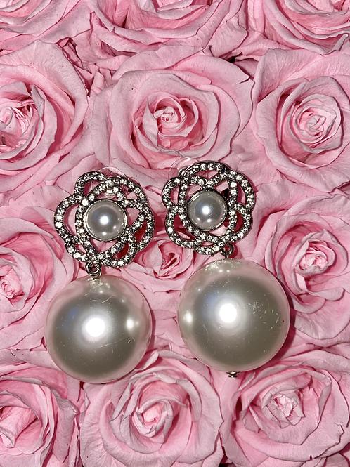 Silver Flower Pearl Earrings