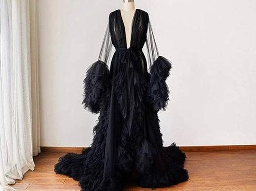 Extra Boujee Tulle Goddess Robe (Black)