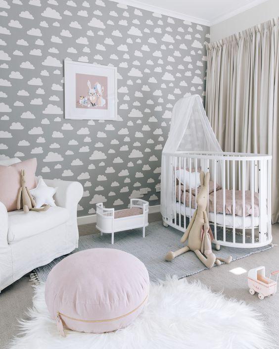 Quarto bebe cinza e rosa