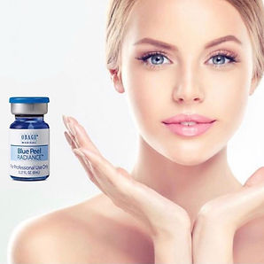 Vial obagi blue peel radiance next to a model showing off her skin quality after having the treatment