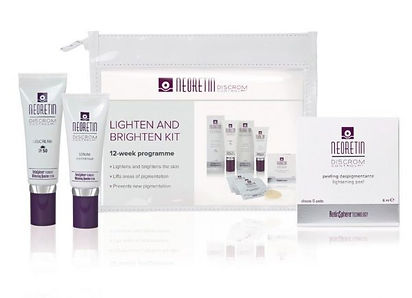 image showing a home kit containing various products which help rdue pigmentatin on the skin.