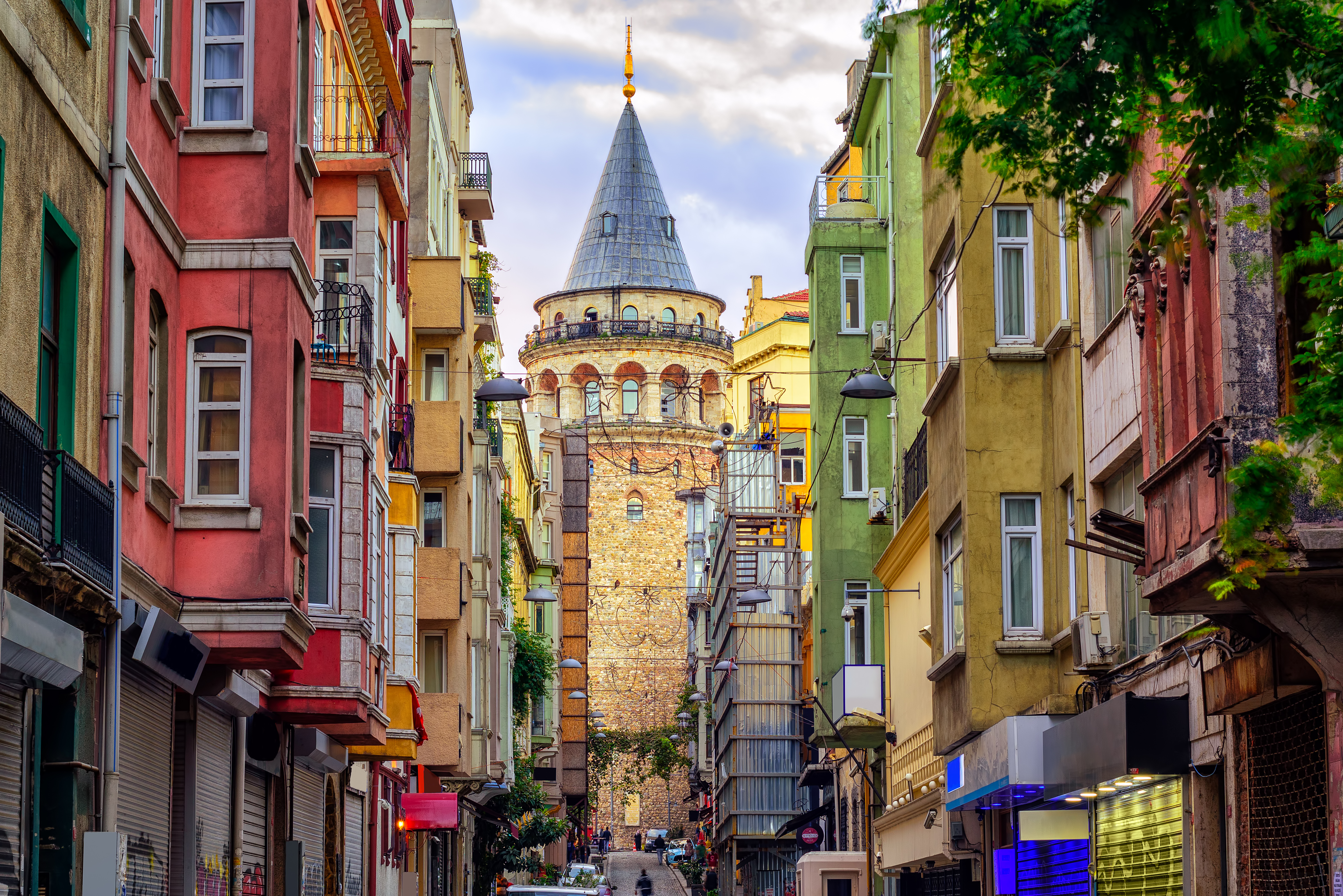 Galata Tower and the street in the Old T