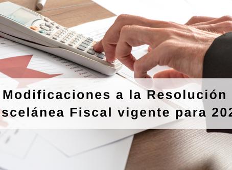 Modificaciones a la Resolución Miscelánea Fiscal vigente para 2020