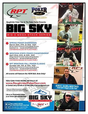Big Sky Big 3 Mega Stack Series Flyer | Roughrider Poker Tour
