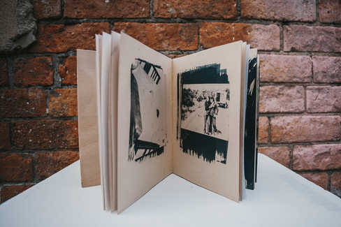 'Archive of Innocence', artists book with cyanotypes by Raquel Amat Parra.   Photo credit: Neal Campbell
