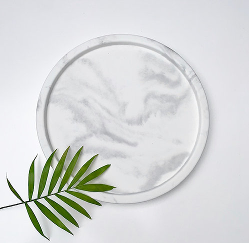 White Marble Effect Concrete Tray | Decorative Tray | Styling Tray | Round Tray