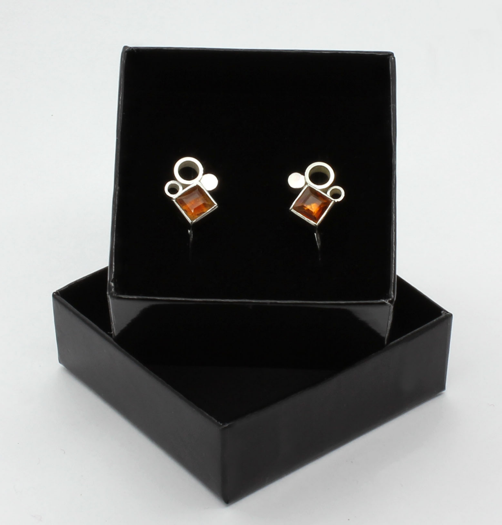Citrine and Sterling Clip Earrings