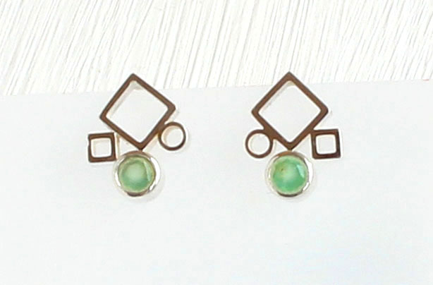 Chrysoprase and Silver Earrings