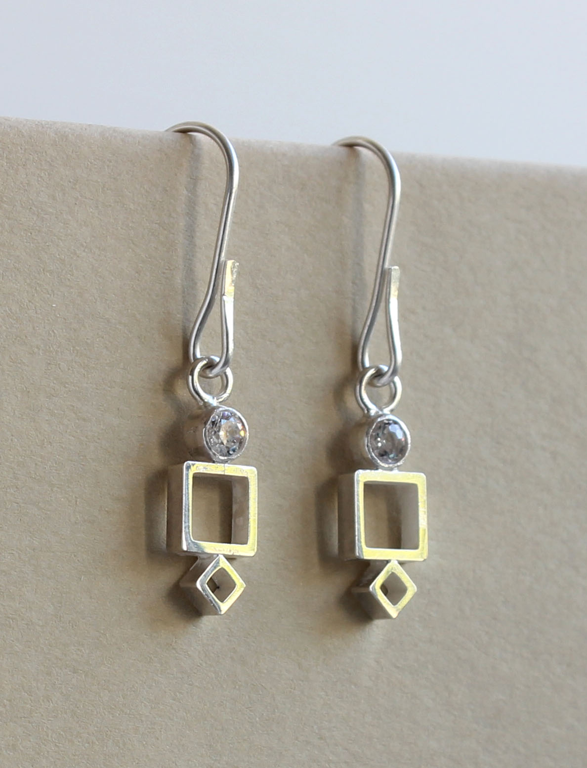 Moissanite and Squares Earrings