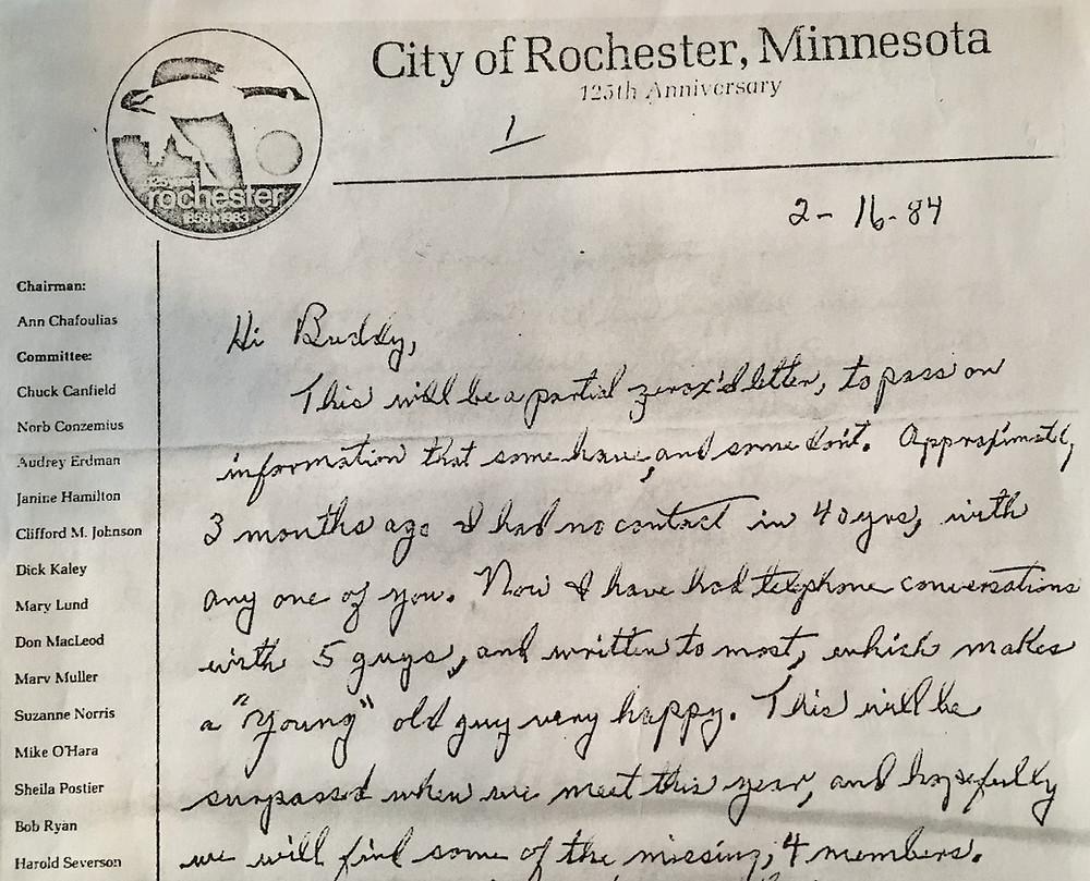 Richard J. Postier Letter About Crew Reunion