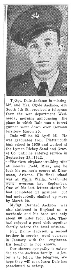 jackson bernard Dale Jackson Obit-MIA in