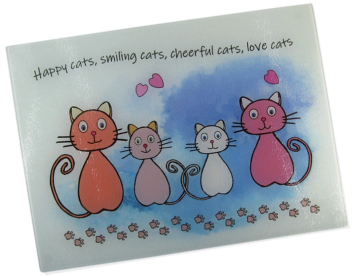 The Happy Cats glass chopping board